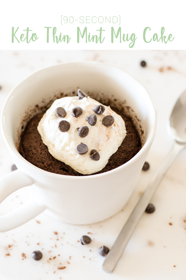 90-second Keto Thin Mint Mug Cake w/ Cheesecake Frosting, Lily's Dark Chocolate Chips
