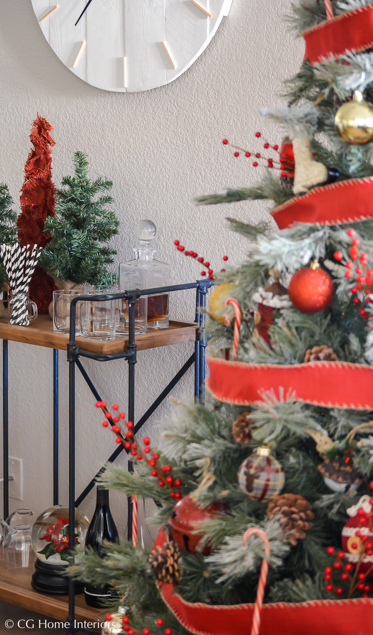 Simple Traditional Christmas Decorations, Bar Cart Styling