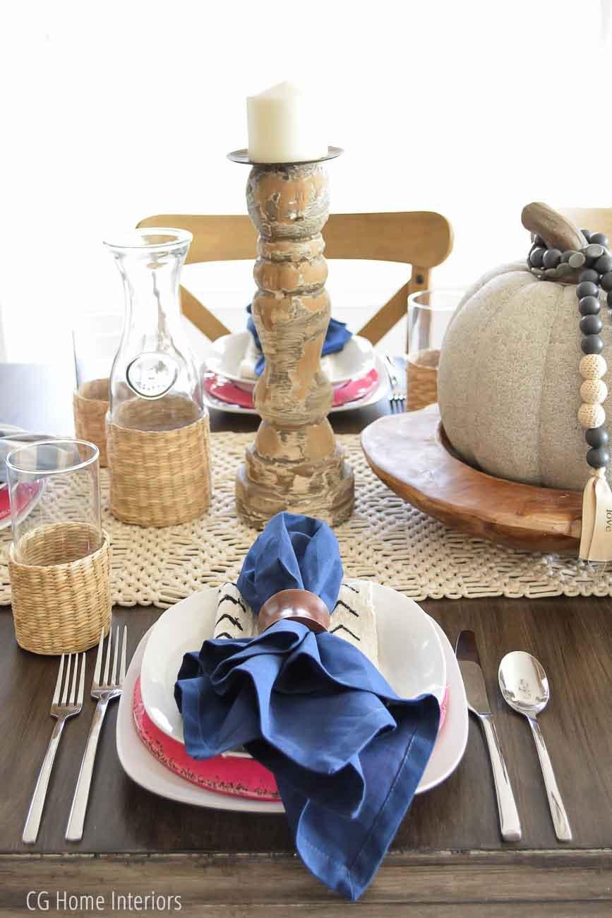 Boho Inspired Fall Tablescape with Mudcloth