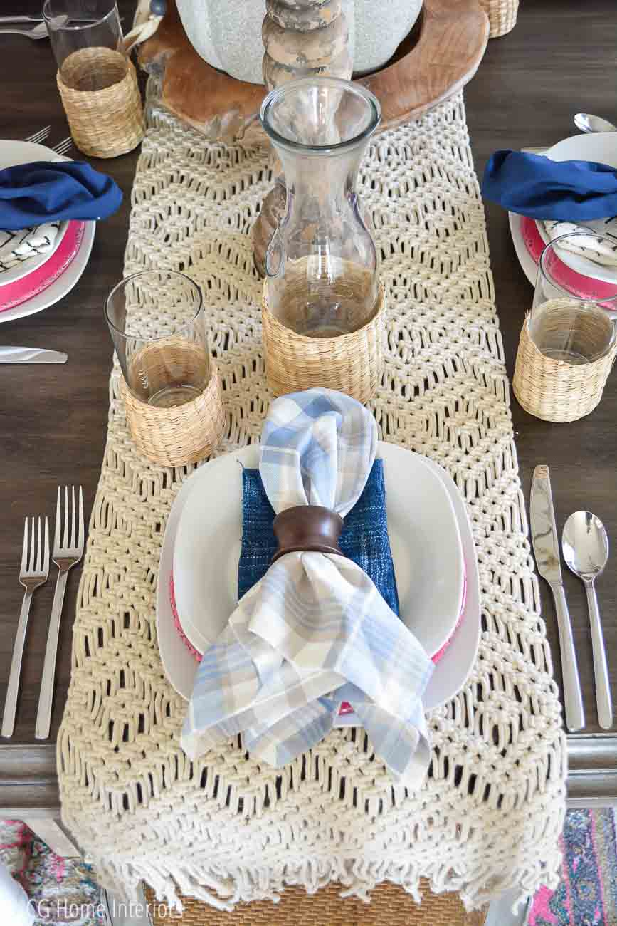 Boho inspired fall table setting