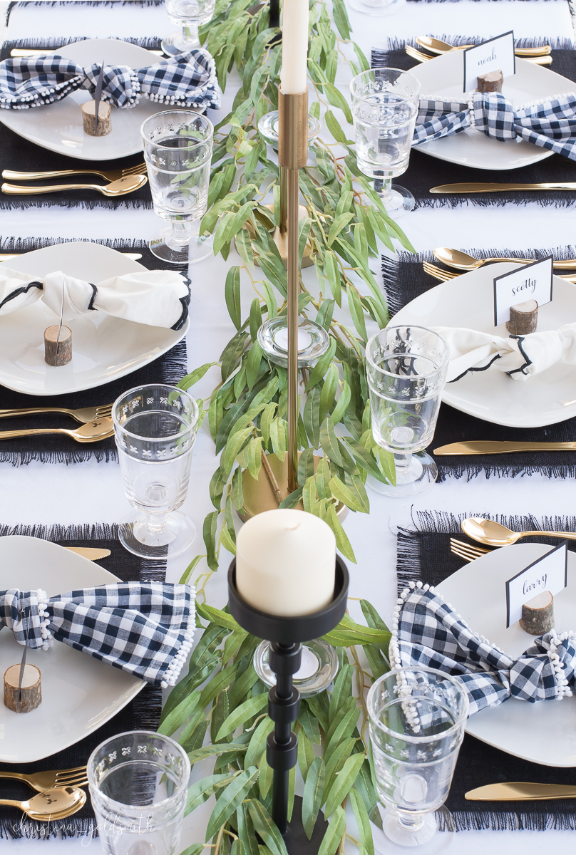 Modern Black + White Thanksgiving Tablescape