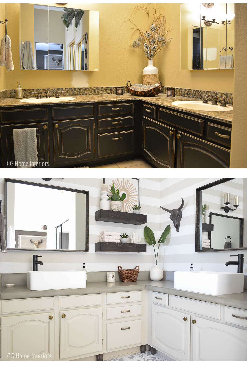 Builder Grade Bathroom Vanity Makeover Before and After