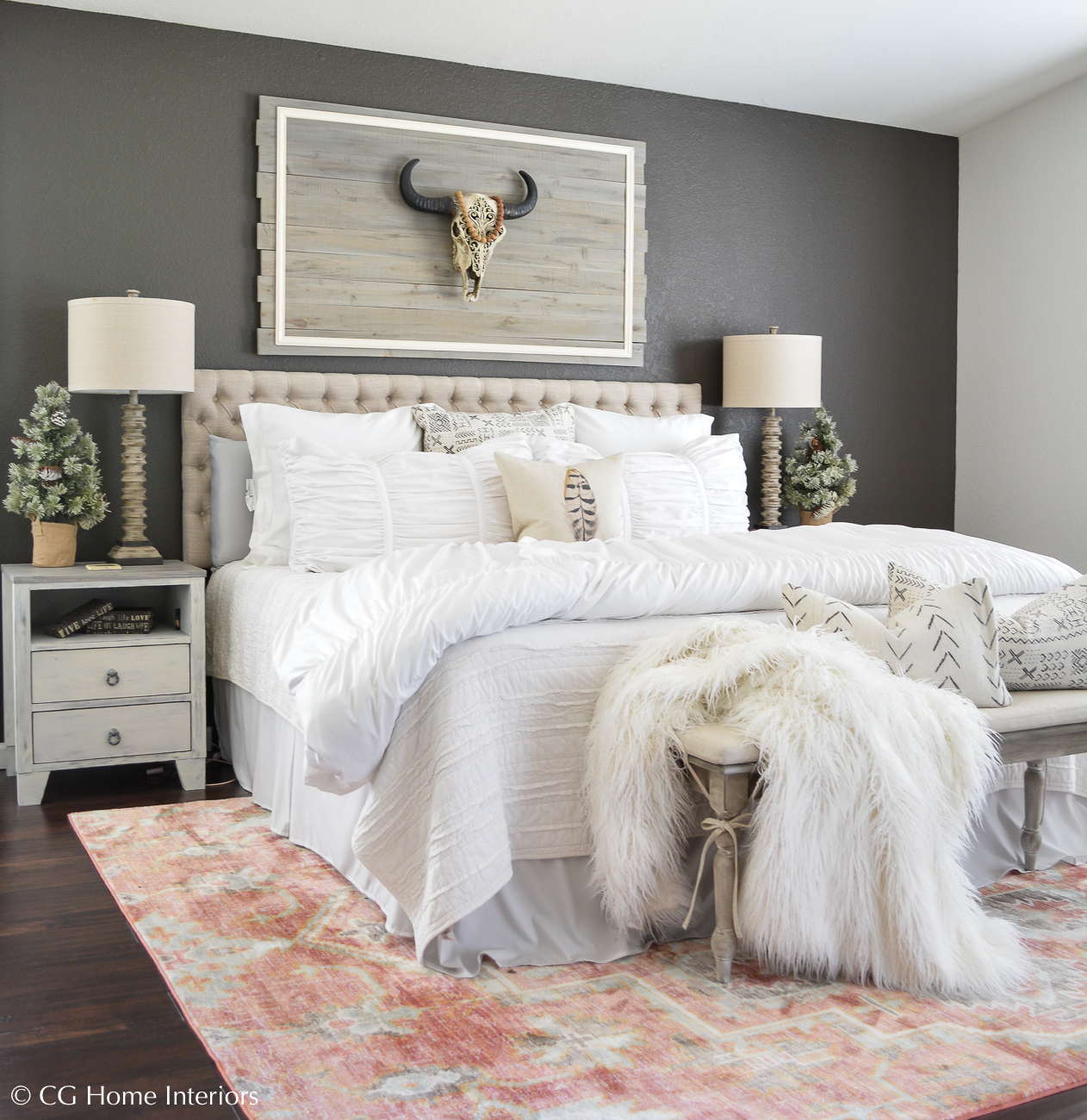 Boho Inspired Christmas Bedroom Decorating