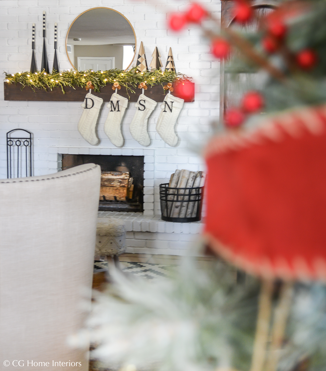 Simple Traditional Christmas Decorations, Painted Brick Fireplace