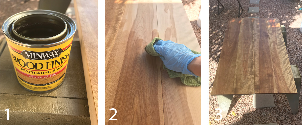 DIY Gold and Wood Coffee Table Staining Process
