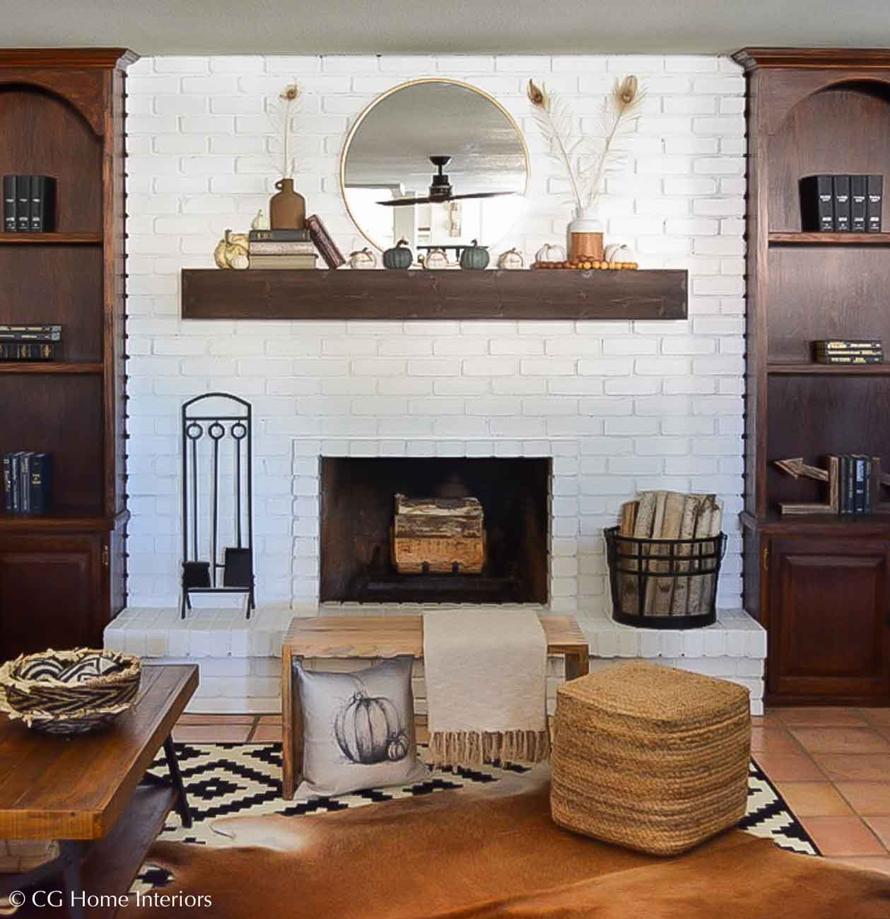Painted Brick Fireplace and Fall Inspired Mantle