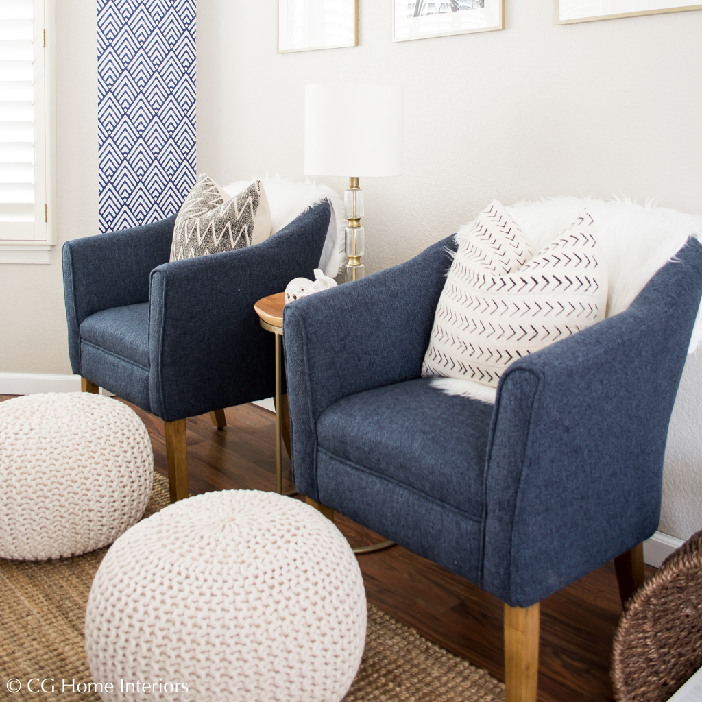 Blue chairs, cable knit poufs, like to know it