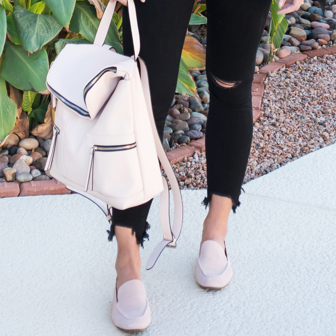Pink Suede Flats, Pink Backpack