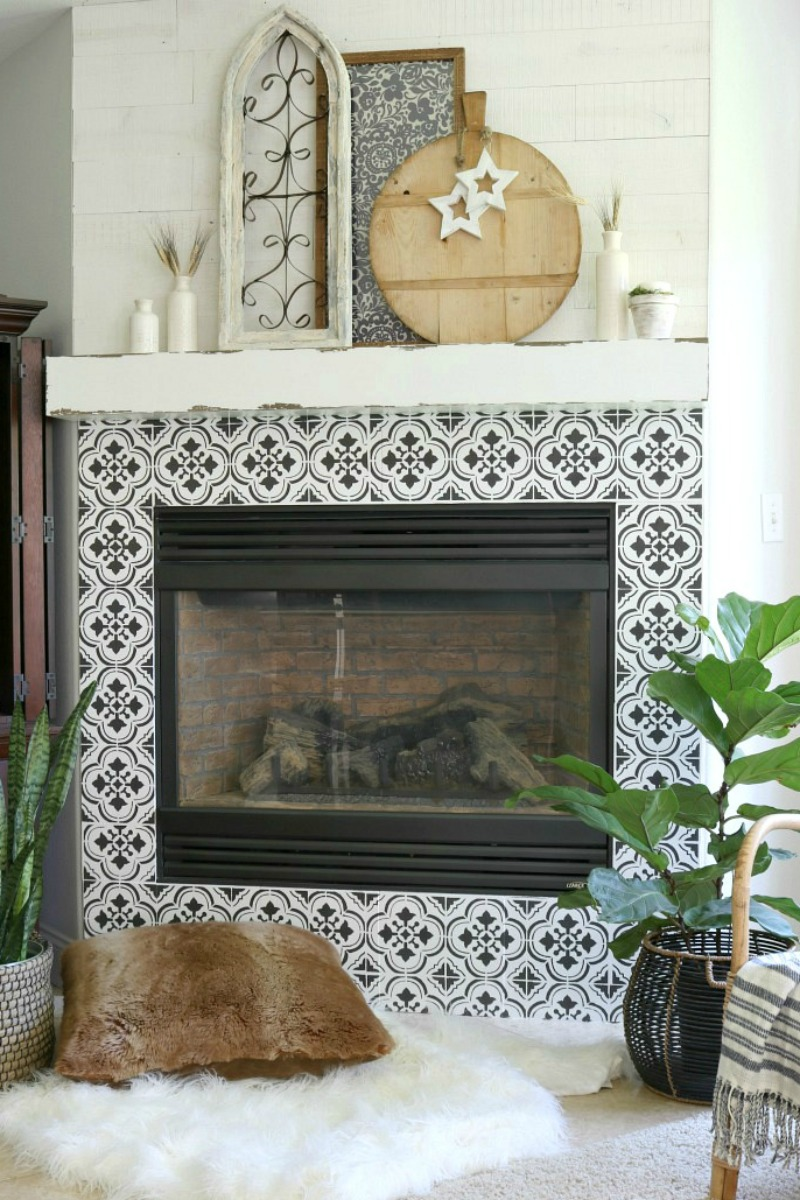 The Design Twins Stenciled Fireplace Tile DIY