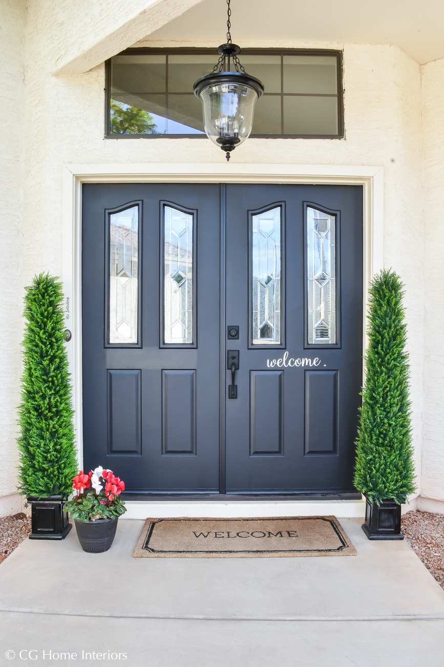 Painted front door in SW tricorn black