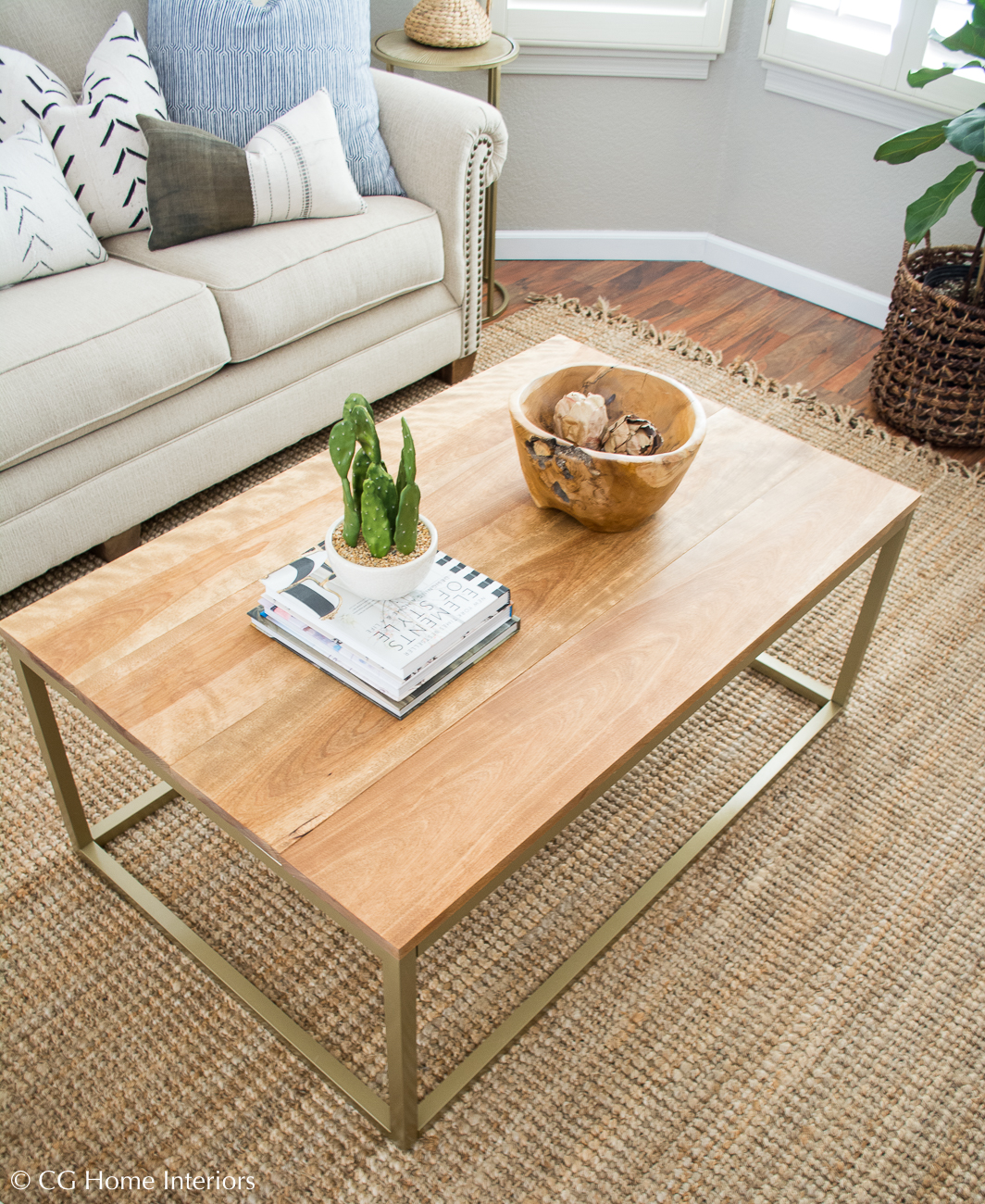 DIY Gold and Wood Coffee Table