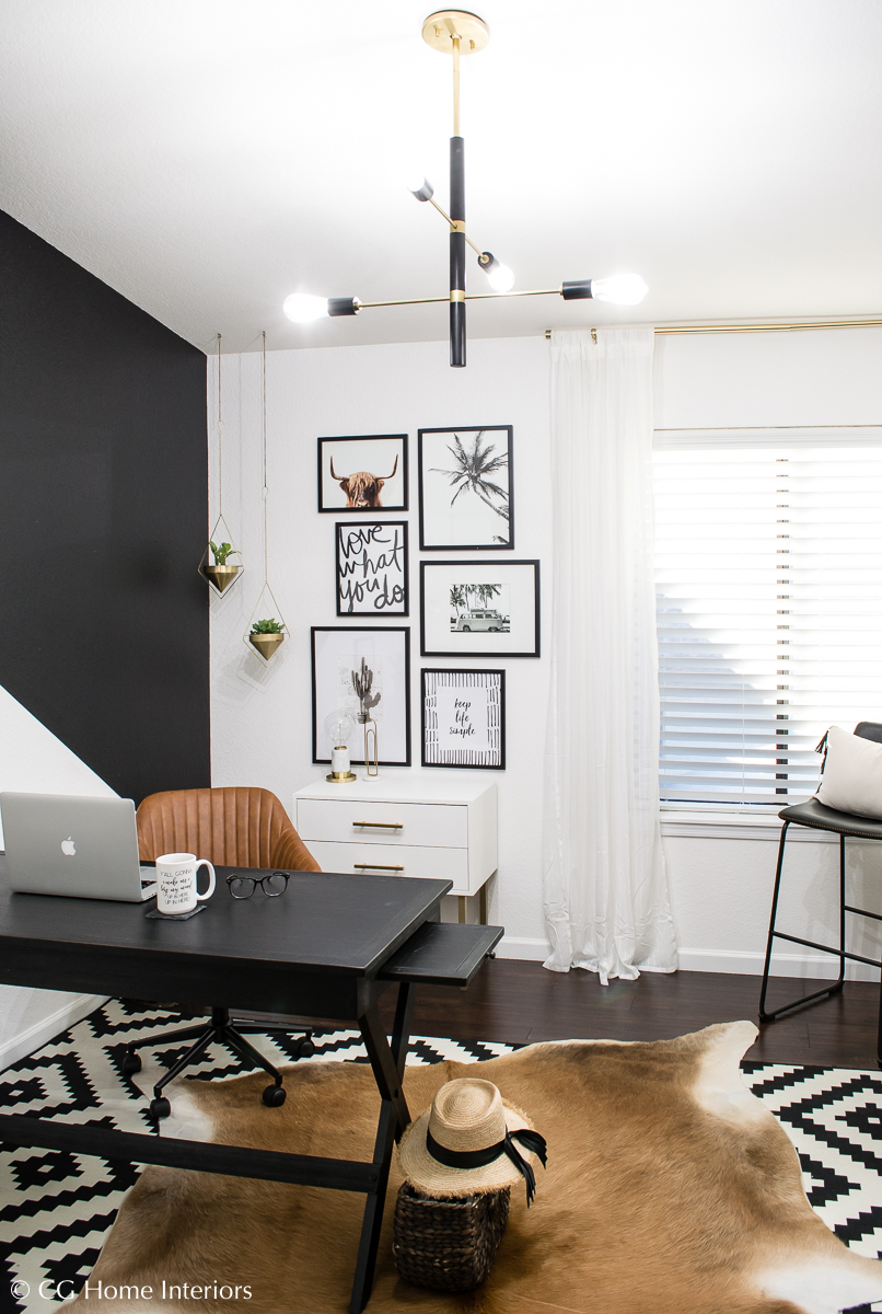 DIY Budget Friendly Modern Home Office Makeover, Hudson Valley Lighting, Mitzi
