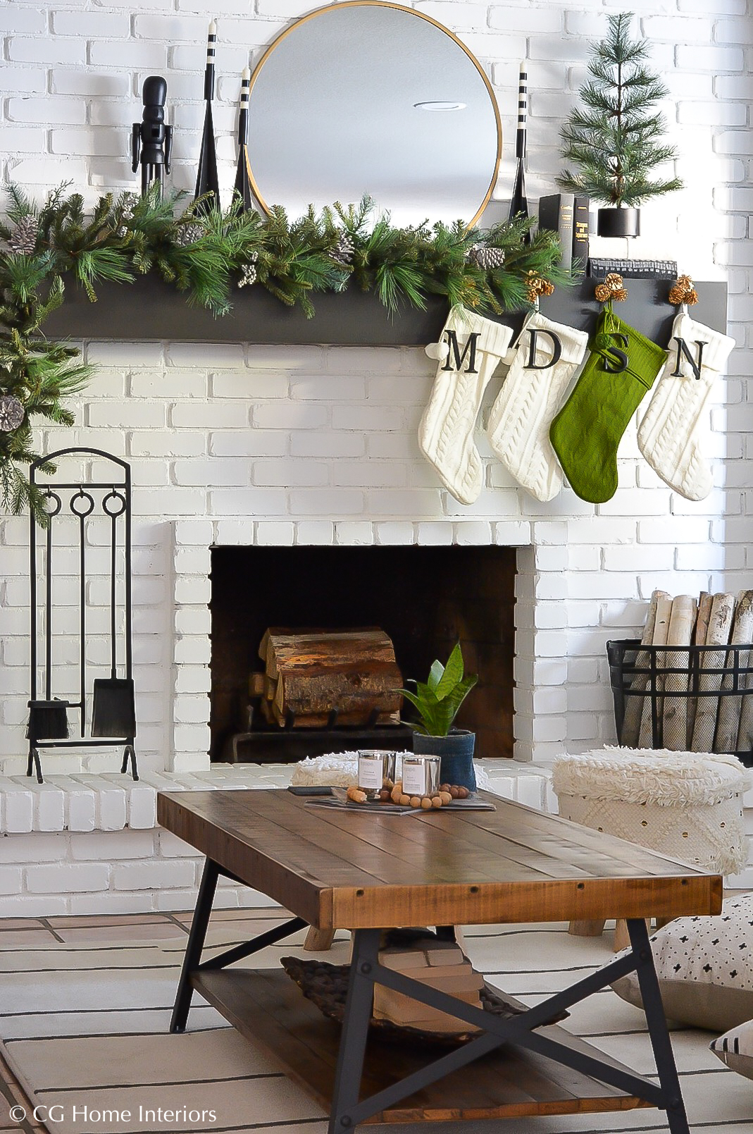 Holiday Home Blog Tour | Mohawk Home, Floating Fireplace Mantle, Painted Brick