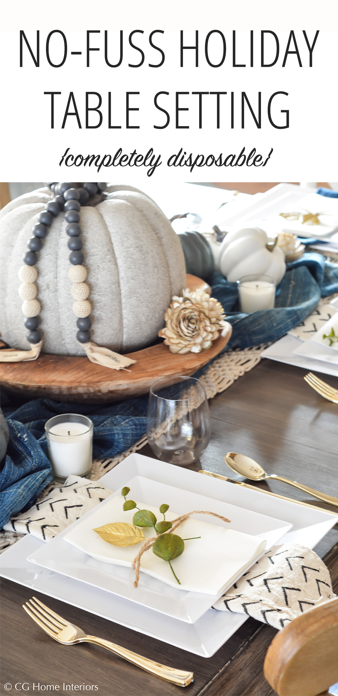 Disposable Holiday Table Setting for Pinterest