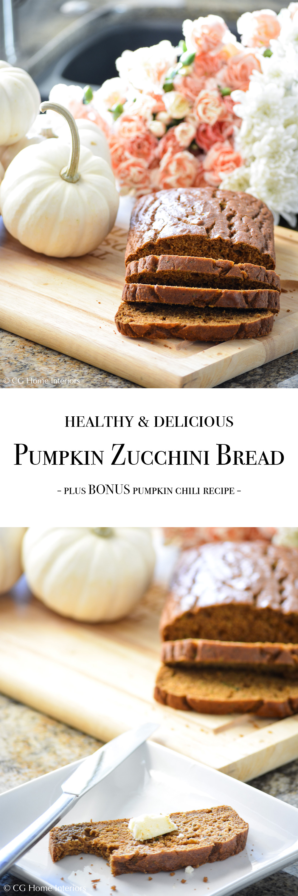 Healthy Pumpkin Zucchini Bread Pinterest Image