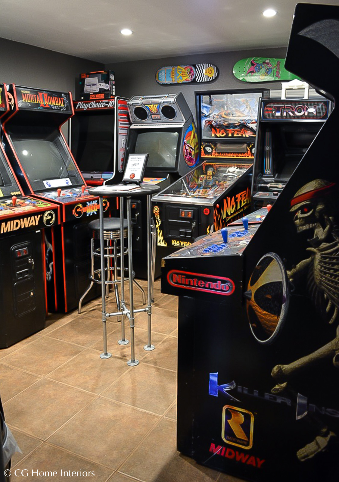 Shared laundry room and game room arcade