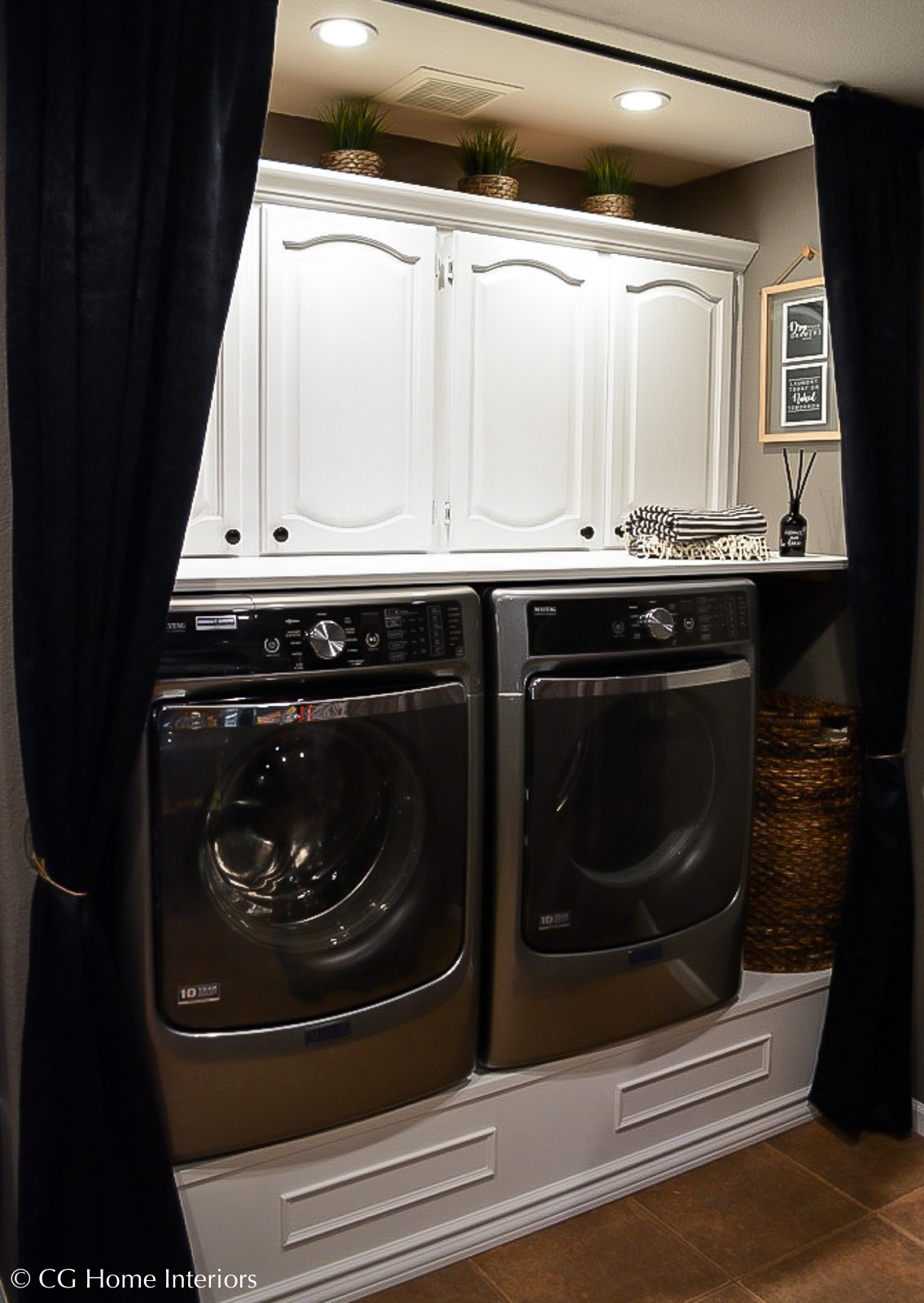 Small laundry room makeover with DIY platform pedestals