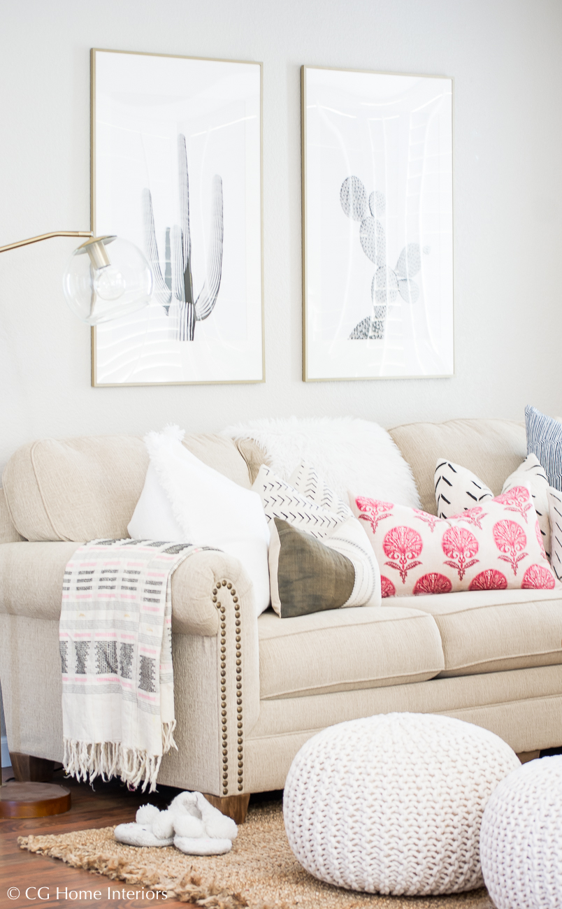 Spring living room decor, pink pillow