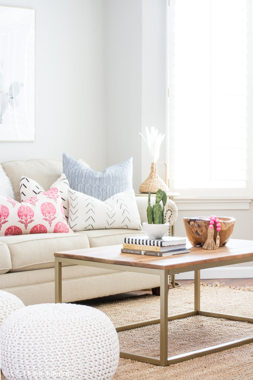 Spring Living Room Decor, pops of pink