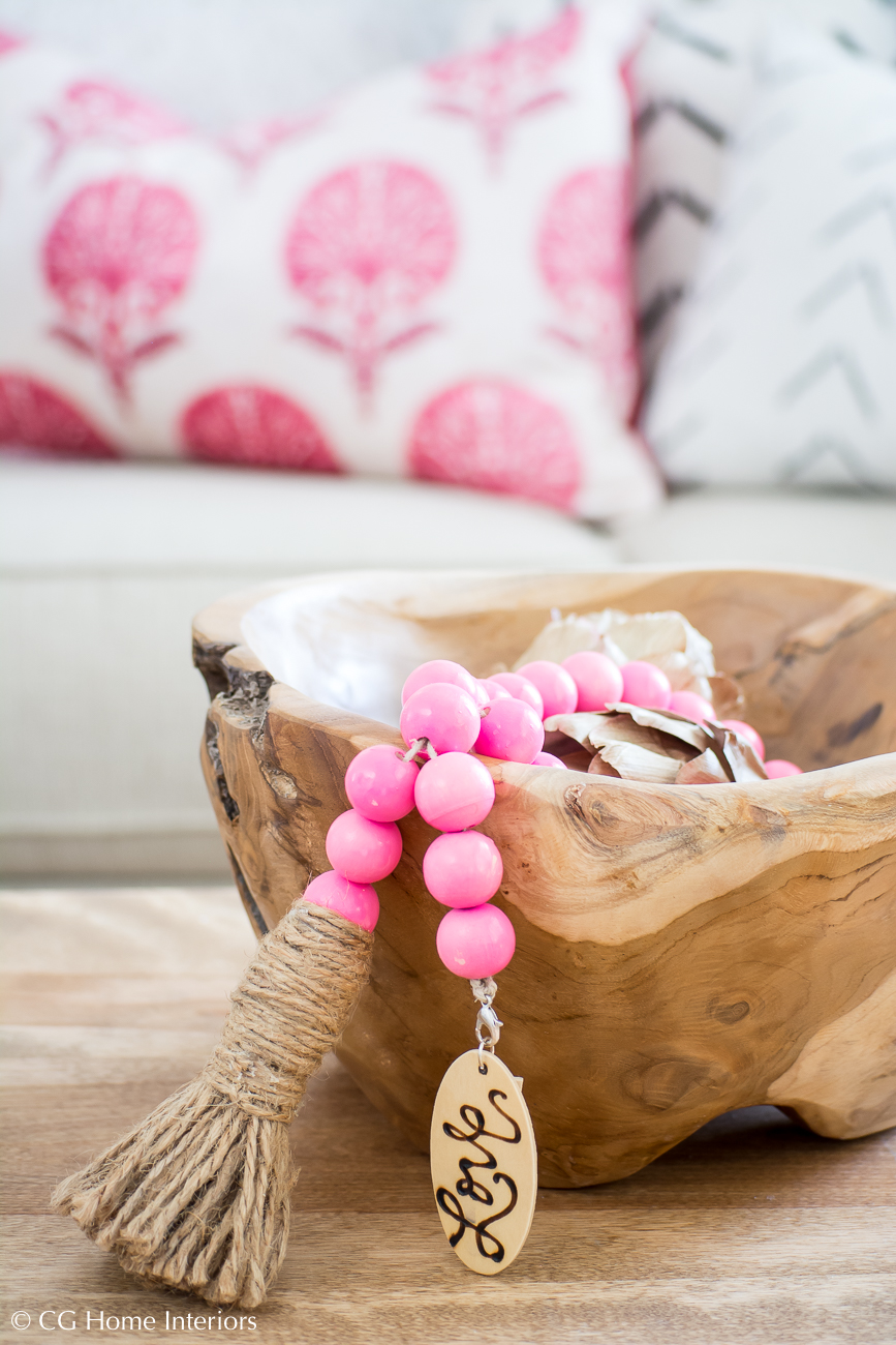 boho decorative pink beads